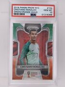 2018 Prizm Fifa World Cup Cristiano Ronaldo Green Orange Wave Sp 154 Psa 10 Gem