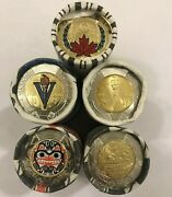 5 Rolls 2020 Wwii + Bill Reid Color And No-color + United Nations Rcm Canada Coin