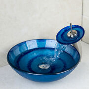 Bathroom Blue Round Line Tempered Glass Basin Sink Waterfall Faucet Mixer Set