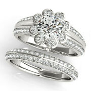 1.60 Ct Natural Diamond Engagement Ring Set For Ladies Solid 14k White Gold 7 8