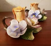 Capodimonte Roses Candle Holders Handcrafted Porcelain Made In Italy