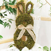 1pc Spring Easter Bunny Wreath Garland Hanger Window Holiday Decor Ornament