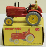 Dinky 300 Massey-harris Tractor Red W/ Yellow Metal Wheels Yellow Picture Box