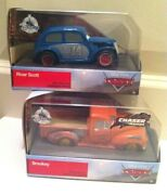 Disney Cars Smokey 'chaser Series' And River Scott Diecast Disney Store Exclusives