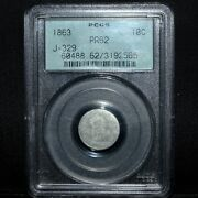 1863 10c Proof Pattern ✪ Pcgs Pr-62 ✪ J-329 Postage Currency For Notes ◢trusted◣
