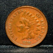 1872 Indian Head Cent ✪ Au Details ✪ 1c Almost Unc Scarce Date F52 ◢trusted◣