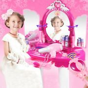 Pretend Play Vanity Set For Little Girls With Mirror And Makeup Table For Kids B