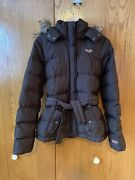 Hollister Brown Puffer Coat Jacket Hooded Down Feather Fill Size M Medium