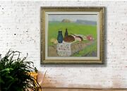 Summer Landscape Still Life In The Field Oil Painting Vintage Impressionist