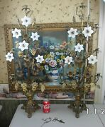 Antique French Church Altar Candelabra Pair Gilt Brass With Porcelain Flowers
