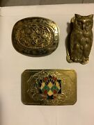 Vintage Lot Of Two Belt Buckles And One Paper Weight