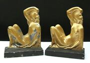 French Art Deco Nude Lady Metal Bookends Ca.1930's Frankart Nuart Era 7.5 Tall