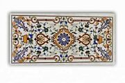 24 X 48 Inches Marble Kitchen Table Top With Marquetry Art Coffee Table For Home