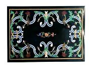 36 X 48 Inches Black Marble Office Table Top With Pietra Dura Art Dinning Table