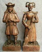 Large Antique Pair Of French Britain Figures Sculptures 19th Century Woodwork