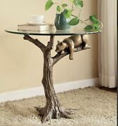 22.5andrdquo Tall Rust Proof Table Featuring Bear Sleeping On Tree Branch Bfd J15