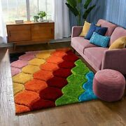 Modern Rainbow Thick Soft Plush Multicolor 3d Textured Thick Andsoft Shag Area Rug