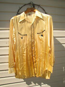 Vintage 1930s-40s Levi's Rodeo Shirt. Gold And Black, Pearl Buttons. Size 16.