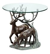 Two Deer Grazing By Tree Aluminum Cast Table Bfd J15