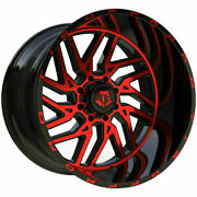 20x12 Tis 544mbr Black Red Mill Rims Wheels 33 Mt Tires Fit Chevy Gmc Ford F150
