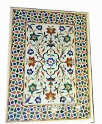 Multi Gemstones Inlaid Coffee Table Top Marble Center Table Size 36 X 48 Inches