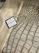 Williams Sonoma Crocodile Embossed Leather And Velvet Pillow Cover 14 X 21