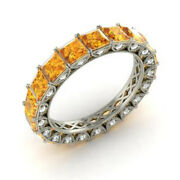 4.40 Ct Real Citrine Gemstone Band Solid 950 Platinum Ladies Bands Size 6 7 8 9