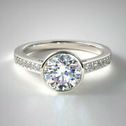 Best Christmas Gift 0.87 Ct Real Diamond Engagement Ring 14k White Gold Size 6 7