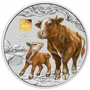2021 Year Of The Ox 1kg Kilo .9999 Silver Coin With Gold Privy Mark - Series Iii