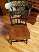 L.hitchcock Mid-century Wood Harvest Baltic Hand Painted Country Farmhouse Chair