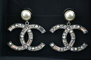 Rev Gold Pearl Ivory Crystal Cc Logo Large Dangle Drop Statement Earrings