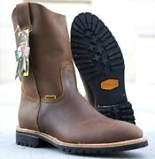 Menand039s Patron 315 Work Boots Genuine Leather Pull On Color Safety Western Round