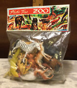 Vintage 1960andrsquos Dime Store Plastic Zoo Animals In Original Package-hong Kong Nos