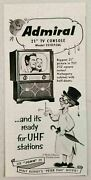 1953 Print Ad Admiral 21 Tv Console John From Disney's Peter Pan Movie