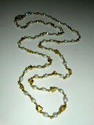 18k Solid Gold Nugget Heavy 750 Necklace Pearls 34 Grams 27 Long Chain