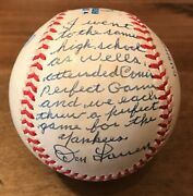 Don Larsen Uniquely Signed Inscribed Andldquostat-storyandrdquo Baseball With Wells And Cone