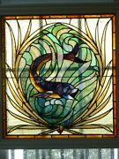 Antique Stained Glass Window 31 X 29