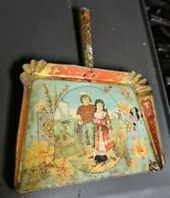 Antique Victorian C.1880's Tin Child's Toy Broom Shovel For Sand Pail 8 Long