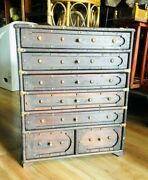 Antique Old Rare Hand Crafted Wooden Cabinet With Drawers And Brass Fitting
