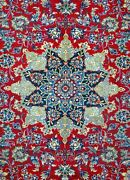 Semi-antique 8and039 0 X 11and039 3 All Wool Esfahann Authentic Hand Knotted Rug
