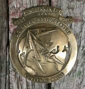 Vintage Us Naval Radio Station Naa Brass Globe Plaque Sign Paperweight Cutler Me