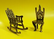 Two Antique Vintage Brass Miniature Chairs Rocking Chair Throne Dolls House