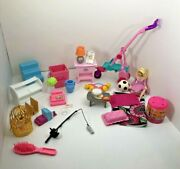 Barbie Accessories Mixed Lot Lamp Table Birdcage Flowers Fishing Pet Stroller ++