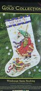 Dimensions The Gold Collection Cross Stitch Windswept Santa Stocking 8496