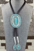 Turquoise And Sterling Silver Bolo Tie - Jazz Wilson