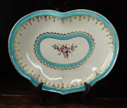 Worcester Heart-shape Serving Dish Turquoise And Gilt With Flowers C. 1770