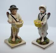 Early Staffordshire Pair Of Cupids As A Fruit And A Pastry Seller, Enoch Wood C...