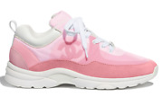 Mens 21c Pink Suede Leather Cc Logo Lace Low Top Trainer Sneaker 46 13