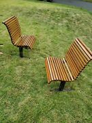 1950s Falcon Oak Cast Iron Benches In Pair Vintage