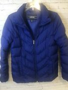 Landand039s End Blue Down Feather Quilted Puffer Winter Coat Jacket Womens Small Tall